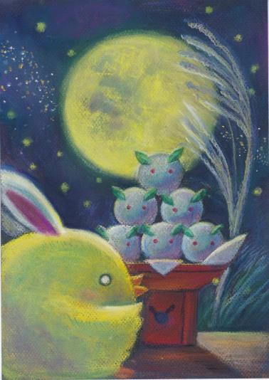 """Rabbit moon"" Pastels on paper"